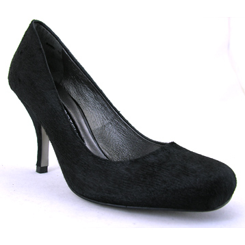 Black Faux Fur Court Shoe