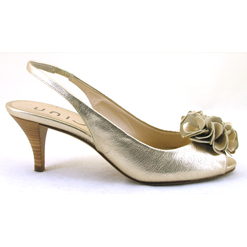 Lucho Soft Gold Leather Peep Toe Slingback